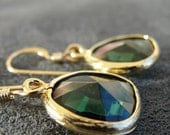 Forest Green Faceted Glass Briolette in Gold Plated Brass Setting with Gold Fill Earwires
