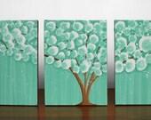 Triptych Painting - 29X12 MEDIUM Canvas - Sea Foam Green Tree