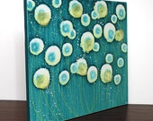 Blue Painting of Flowers - Original Acrylic on Canvas Art - 24X20 Small - Yellow and Blue Wall Art - IN STOCK