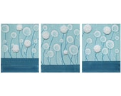 Blue and White Flower Painting - Textured Acrylic Art on Canvas Triptych  35X14 Medium - Aqua Decor - IN STOCK