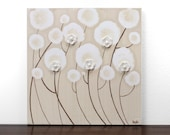 Khaki Flower Painting - Original Acrylic on Canvas Art - Small 10X10 - Brown and White Wall Art - IN STOCK