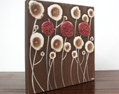 Textured Acrylic Painting - Brown and Red Flowers - Small Canvas Wall Art 12X12