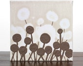 Brown Mini Canvas Art - Original Flower Painting - Neutral Minimalist Art - Textured Acrylic on Canvas - IN STOCK
