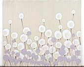 Purple Art Modern Flower Painting - Textured Acrylic on Canvas - Small 24x20 - MADE TO ORDER