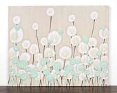 Khaki Painting of Flowers - Textured Canvas Art - 20X16 MEDIUM - Pale Green Modern Nursery Art