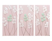 Baby Girl Nursery Art - Pink Painting of Flowers - Pink and Green Textured Wall Art - 32X20