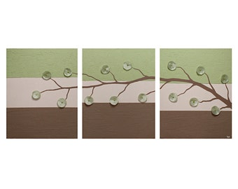 Abstract Flower Art Painting Triptych - Green and Brown Textured Canvas - Large 50x20