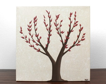 Brown and Red Home Decor - Textured Nature Art - Original Tree Painting on Canvas - Small 10x10