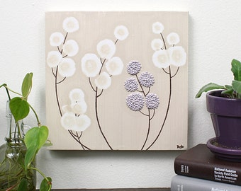 Purple Flower Painting - Original Canvas Art with Textured Acrylic - Khaki Nursery Art - Small 10x10 - MADE TO ORDER
