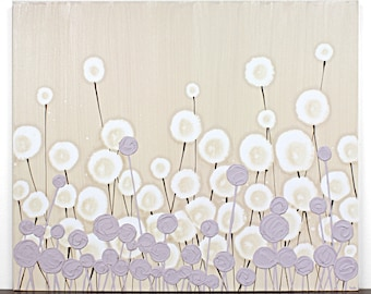 Modern Nursery Art Flower Painting - Textured Acrylic Art on Canvas - Khaki and Purple Art for Baby Girl - Small 24x20 - MADE TO ORDER