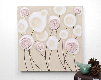 Girl Nursery Art Decor - Textured Flower Painting - Pink and Brown Art on Canvas - Small 10x10 - MADE TO ORDER