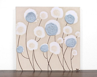 Textured Flower Painting on Canvas - Blue and Khaki Wall Art - Small 12x12
