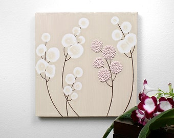 Baby Girl Nursery Wall Decor - Pink and Brown Textured Flower Painting Original Canvas Art - Small 10x10