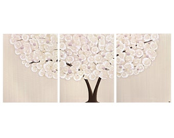 Canvas Wall Art - Pink Nursery Girl Tree Paintings Triptych Textured - Large 50x20 - MADE TO ORDER
