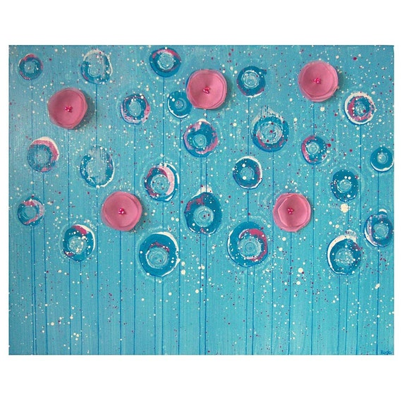 Turquoise Painting Of Flowers Original Acrylic Art On Canvas