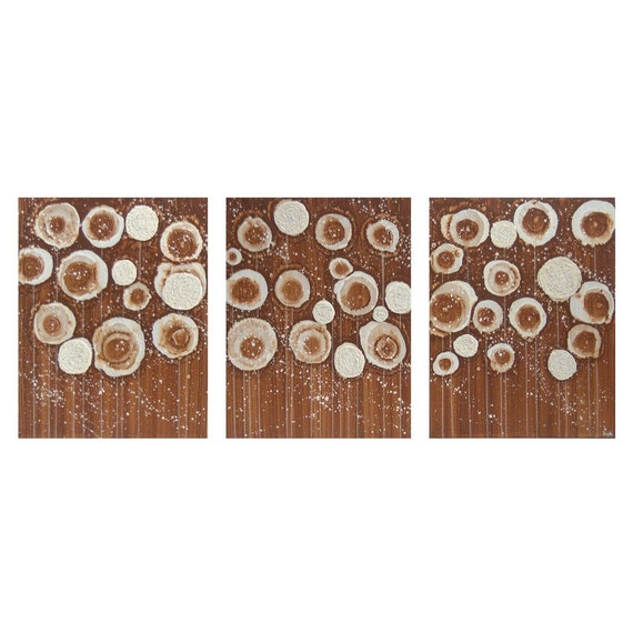 Brown Flower Painting - Original Acrylic on Canvas Triptych 35X14 Medium - Cozy Home Decor - IN STOCK