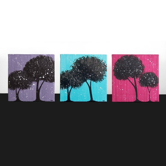Wall Art for Teen Girls Room Decor - Set of Three Bright Tree Paintings on Canvas 32X10 - Turquoise, Violet, Raspberry - IN STOCK