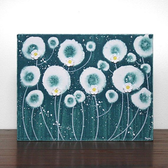 Teal Daisy Painting - Original Acrylic on Canvas Art - 14X11 Small Gift for Her