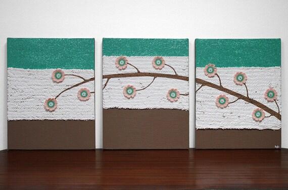 Baby Girl Nursery Art - Jade Green Flower Painting on Triptych Canvas - 35X14 Medium