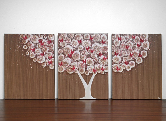 Tree Wall Art - Original Acrylic Painting on Canvas Triptych - 35X14 Medium - Brown and Red Home Decor - IN STOCK