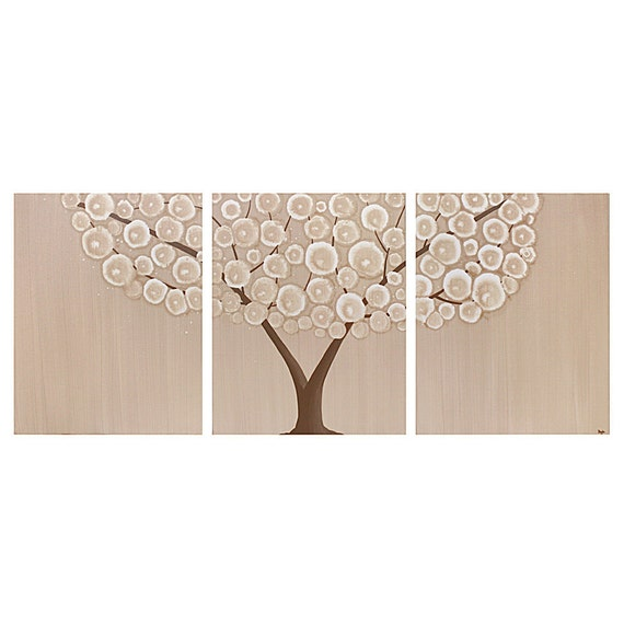 Extra Large Painting of Tree - Original Acrylic Canvas Triptych 62X24 - Tan Wall Art - IN STOCK