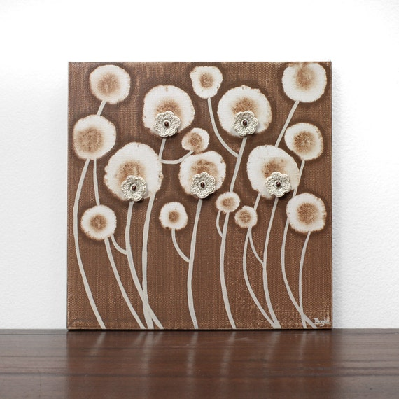 Brown Painting of Flowers - Original Acrylic on Canvas Art - Small 10X10 Brown and Khaki Home Decor - IN STOCK