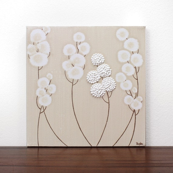 Acrylic Painting of Flowers for Neutral Nursery - Khaki and White Textured Canvas Wall Art - Small 12x12