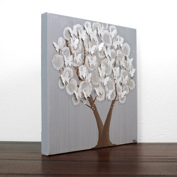 Acrylic Painting on Canvas - Ash Gray Tree with Butterflies - Original Wall Art - Small 12X12 - IN STOCK