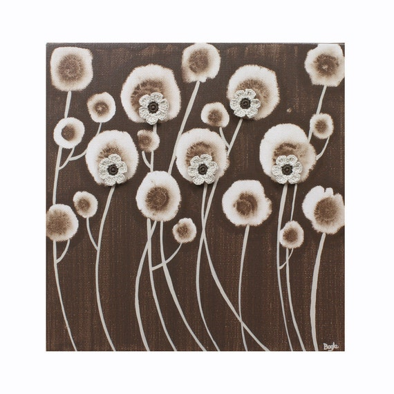 Brown Daisy Painting - Original Acrylic on Canvas Art - Earth Brown Flower Wall Art - Small 10X10 - IN STOCK
