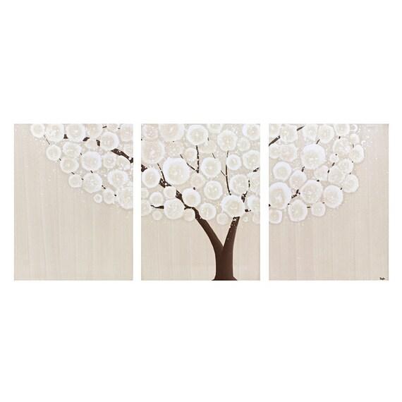 Neutral Art Decor - Brown Tree Painting - Original Acrylic Painting on Canvas Triptych - Medium 29x12 Home Decor