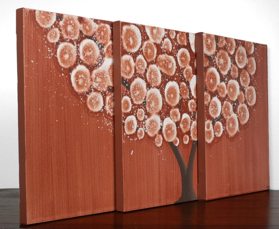 Orange Painting of Tree - Original Art on Canvas Triptych - Medium 35X14 Acrylic Painting - Autumn Wall Art - IN STOCK