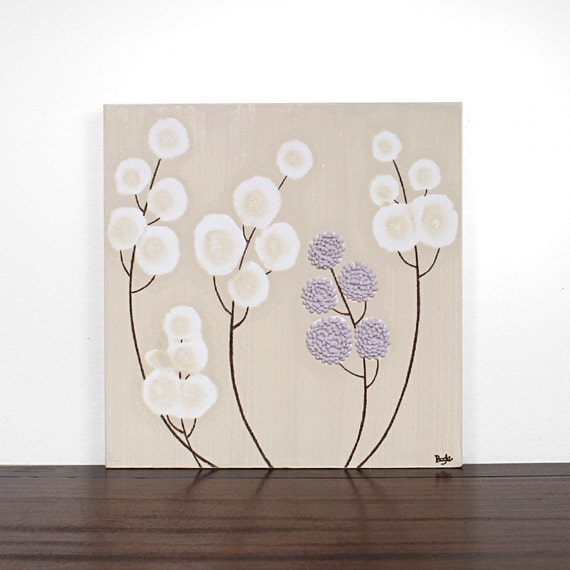 Textured Painting - Purple and Brown Flower Nursery Art - Small Canvas Wall Decor 12X12 - IN STOCK