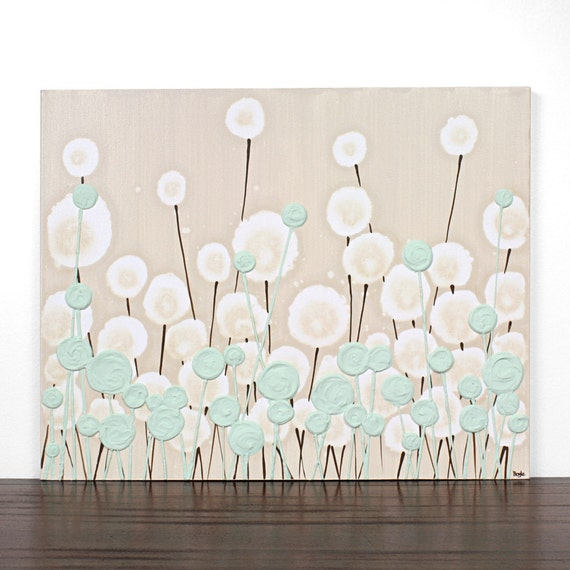 Khaki Painting of Flowers - Textured Canvas Art - 20X16 MEDIUM - Pale Green Modern Nursery Art