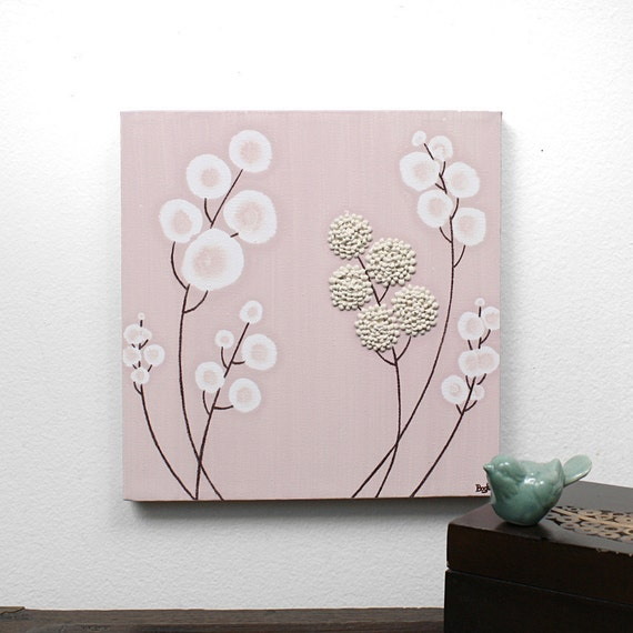 Small Nursery Art - Pink Painting of Flowers - Original Textured Canvas Art - Khaki and Pink Decor - 10X10 Square Wall Art - IN STOCK