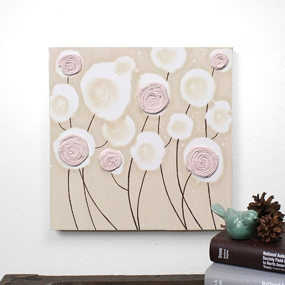 Girl Nursery Art Decor - Textured Flower Painting - Pink and Brown Art on Canvas - Small 10x10