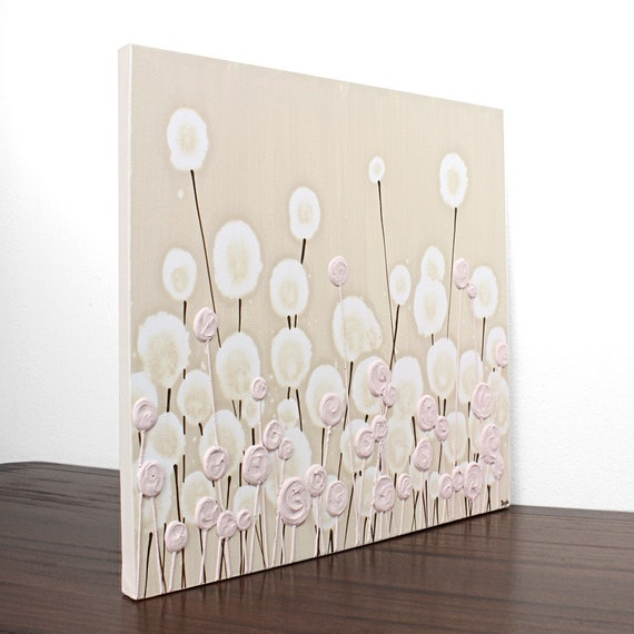 Reserved Listing - Pink and Khaki Nursery Art - Textured Painting of Flowers on 36X24 Canvas -  Modern Decor - MADE TO ORDER
