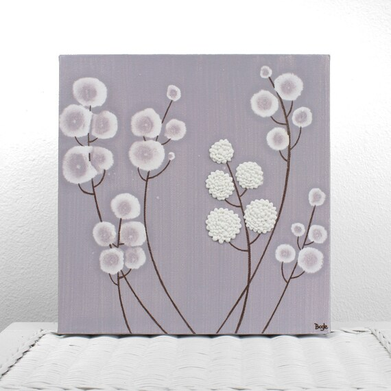 Baby Girl Nursery Art - Textured Painting of Purple Flowers on Small Canvas - Original Art 10X10 - Lavender and White - IN STOCK