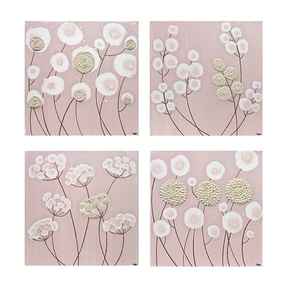 Pink Baby Girl Nursery Art - Original Flower Paintings - Pink and Brown Textured Art - Square Canvas Set of Four - 25X25 - MADE TO ORDER