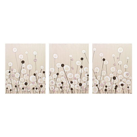 Pink Brown Nursery Art Decor for Baby Girl - Textured Acrylic Flower Painting on Canvas Triptych - Large 50x20