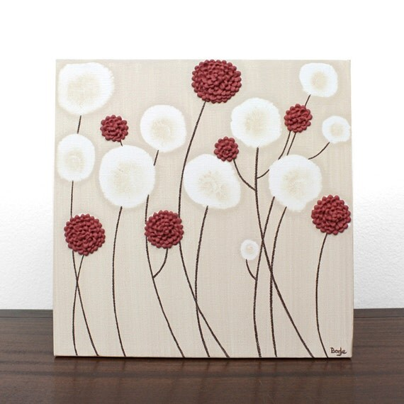 Modern Nature Art - Brown and Red Flower Painting - Original Textured Wall Art - Small 12X12 Canvas - IN STOCK