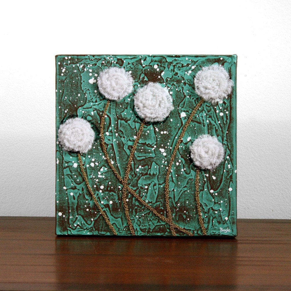 Rustic Flower Painting Textured Acrylic On Canvas Art