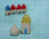 A Yellow pastel blue little House Dwelling