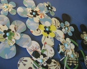 Layered Paper Flowers Blue Dark Mix with Brad Centers Pack of three handmade Embellishments for Cards and Scrapbooks Black