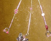 PIF Pink Beaded Butterfly Long Dangle Earrings PIF