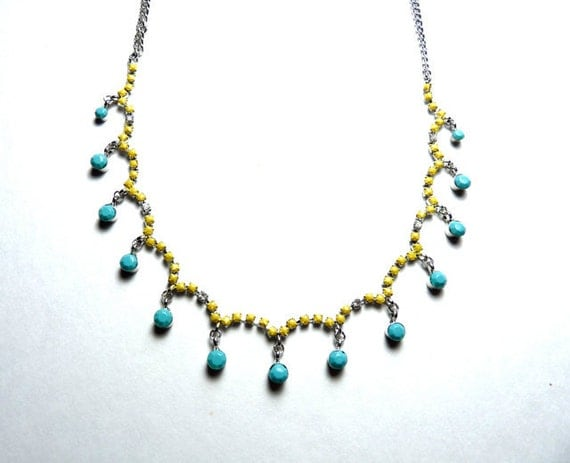 Summer Hand Painted Rhinestone Necklace - Turquoise Blue Necklace, Yellow Necklace, Tom Binns