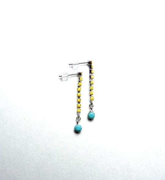 Summer Hand Painted Rhinestone Earrings - Turquoise Blue, Yellow, Tom Binns