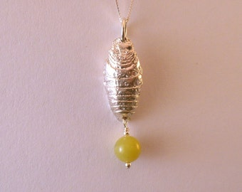 Sterling waterbug and olive jade necklace