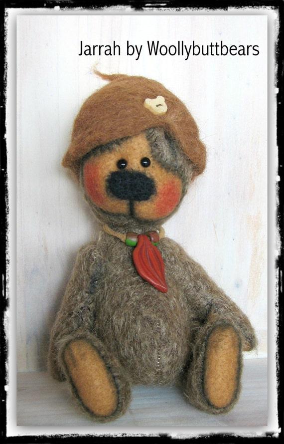 Jarrah Mohair artist bear handmade by woollybuttbears on etsy