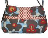 Morning Glory in blue and gray shoulder bag with flap -- Amy Butler fabric
