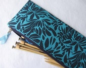 Knitting needle storage pouch case in Indigo Daisy Bouquet designer print from Amy Butler